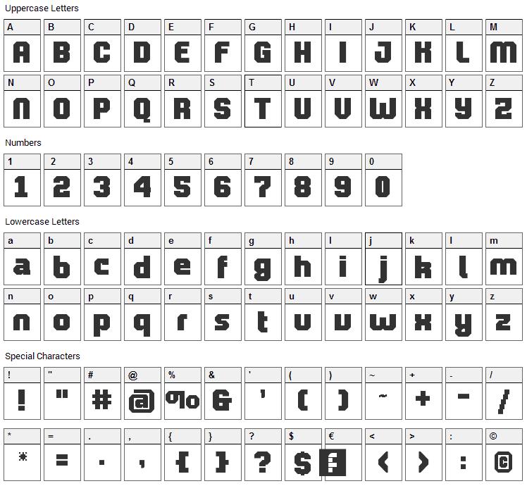 Pro Lamina Font Character Map
