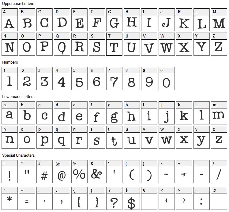 Problem Secretary Font Character Map