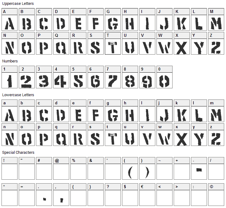 Product Font Character Map