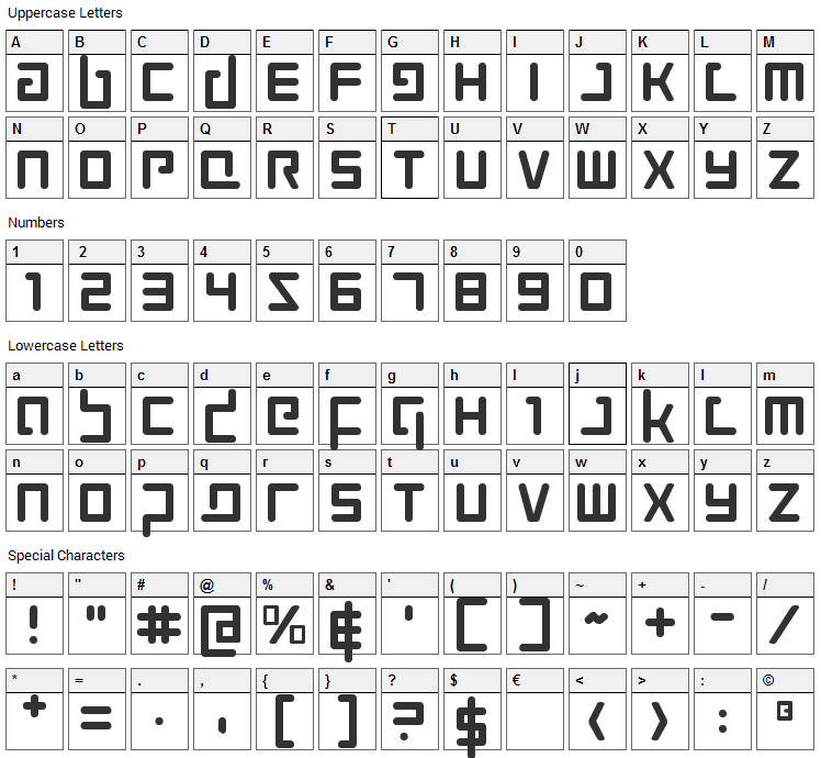 Prokofiev Font Character Map