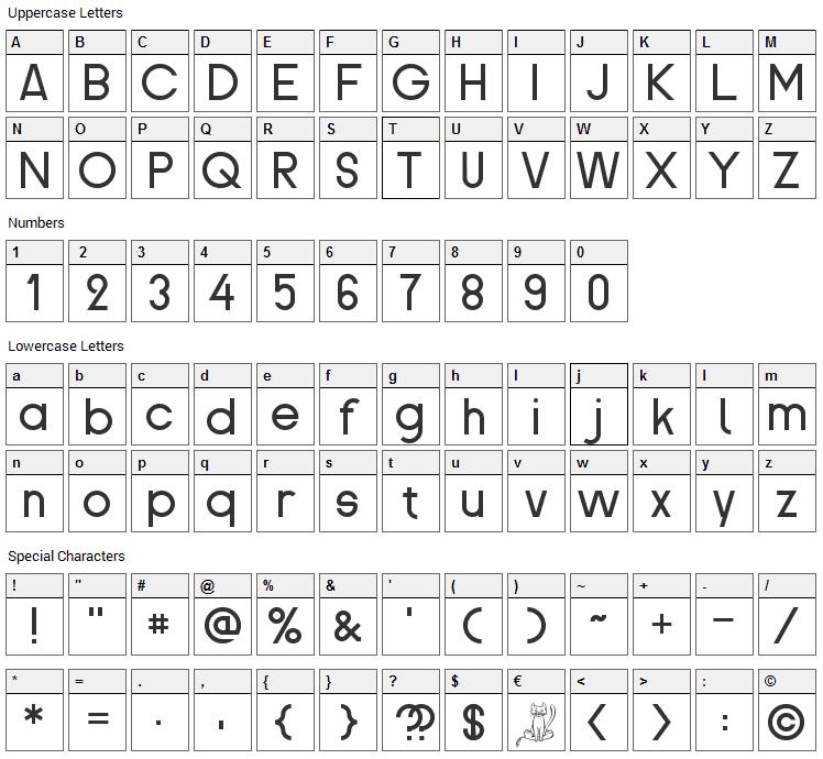 Proletarsk Font Character Map