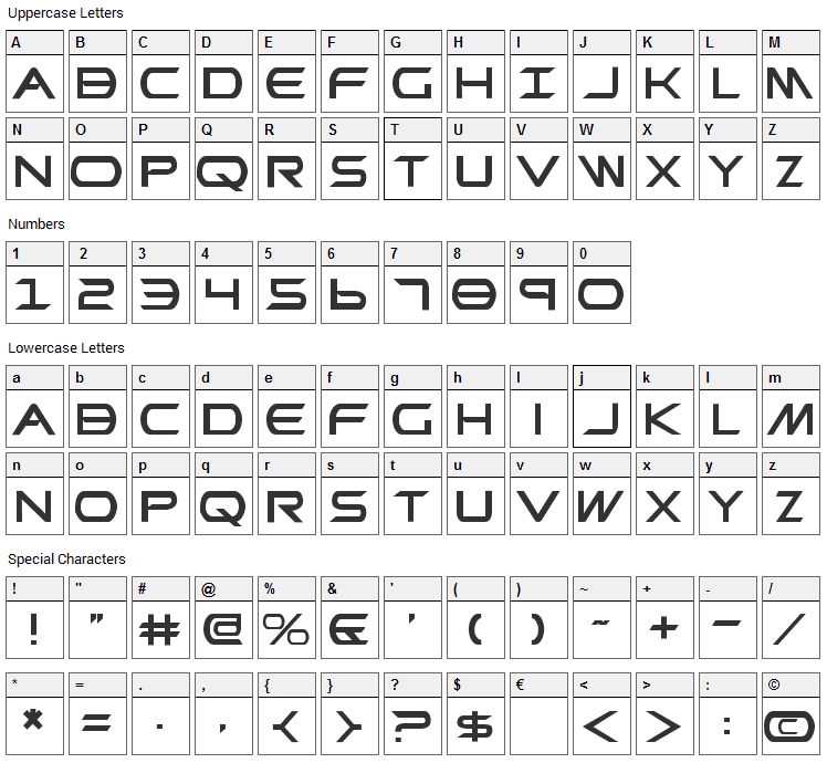 Promethean Font Character Map