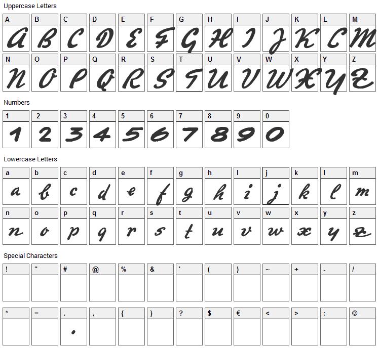Promotion Script Font Character Map