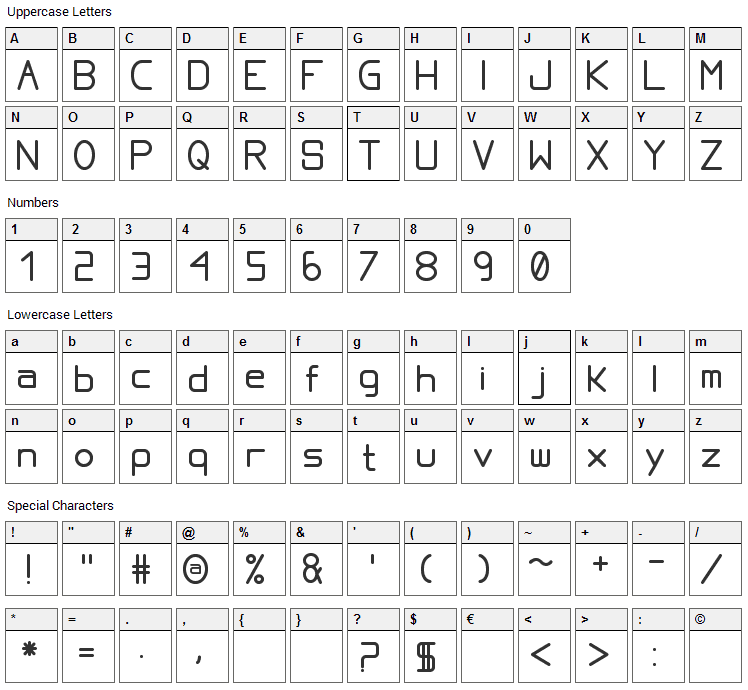 Proportional Font Character Map