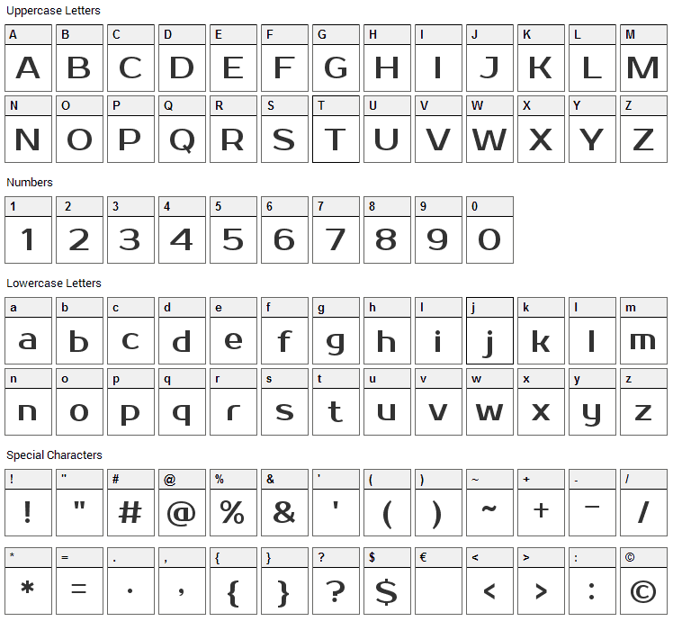 Prosto One Font Character Map