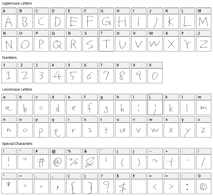 Proto Uncertain Font Character Map