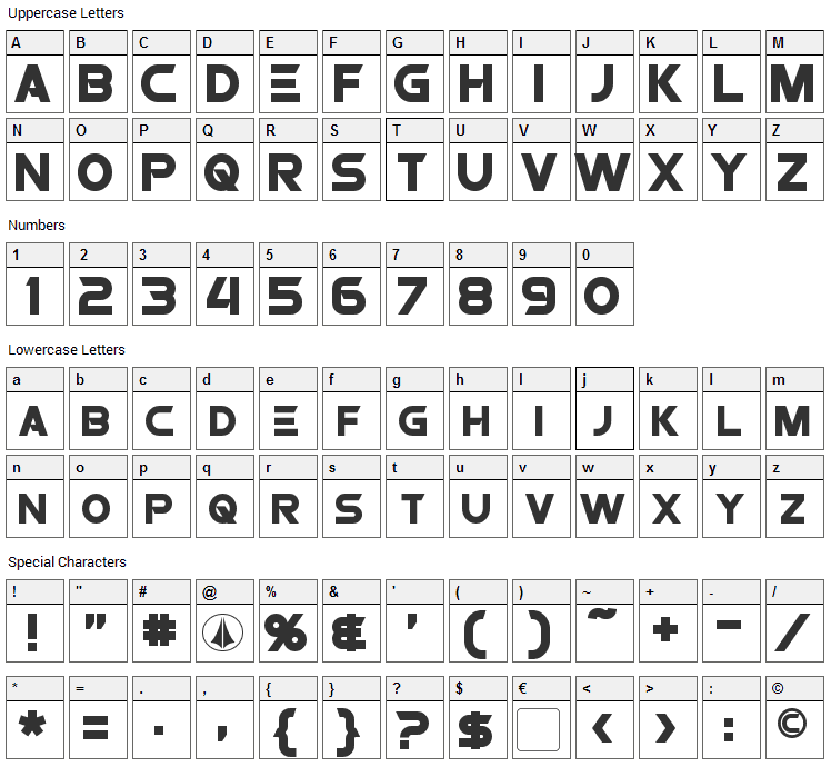Protoculture Font Character Map