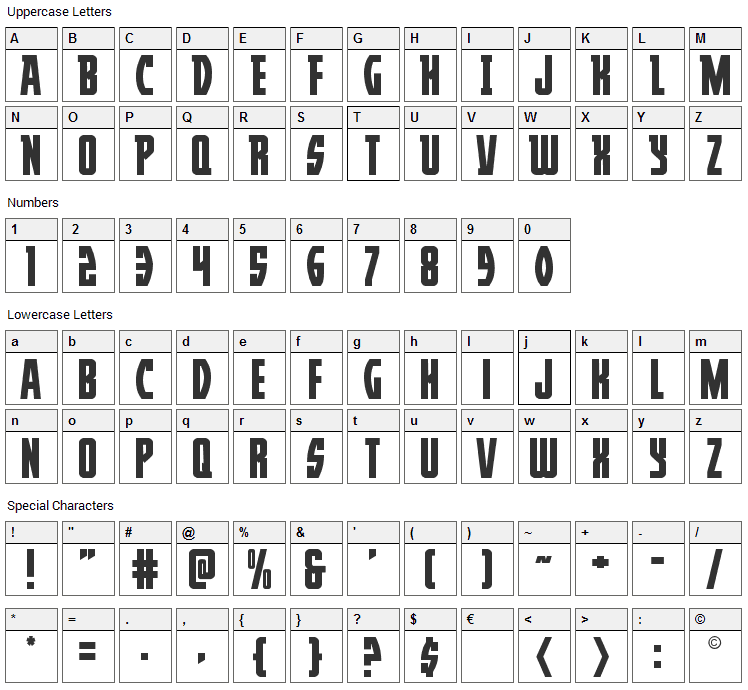 Prowler Font Character Map
