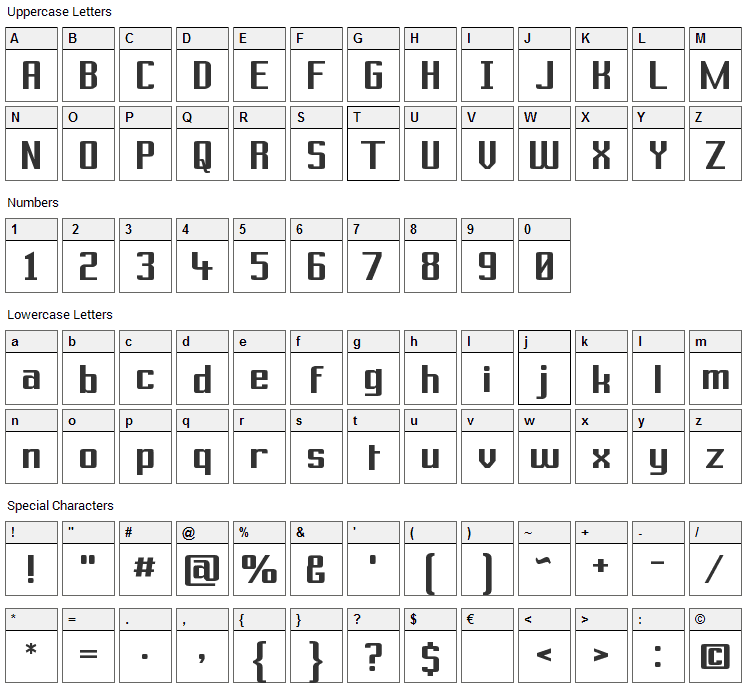 Prussian Brew Solid Font Character Map
