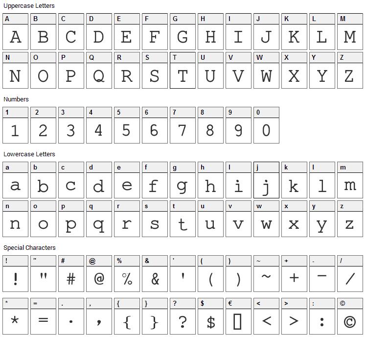 Pseudo APL Font Character Map