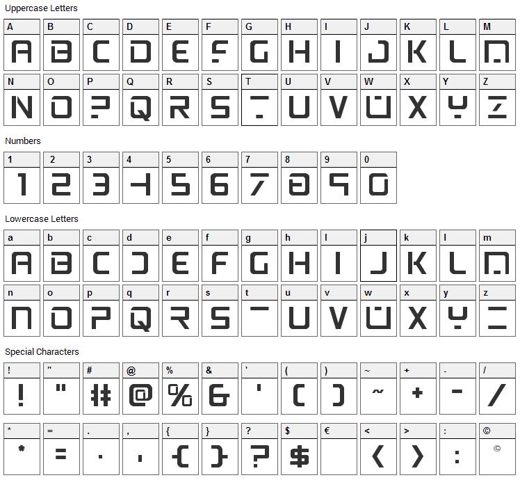 PsYonic VII Font Character Map