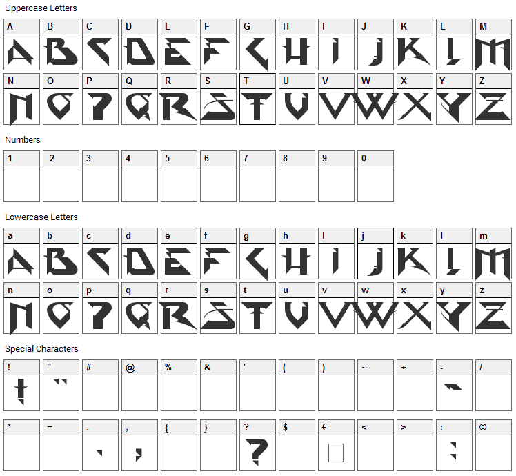 PsyType Font Character Map