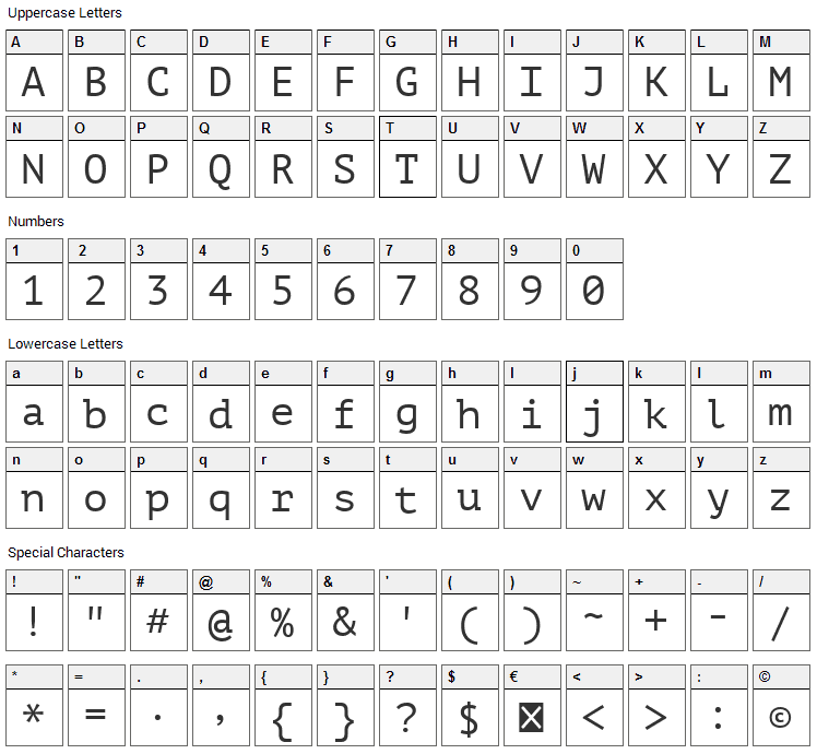 PT Mono Font Character Map