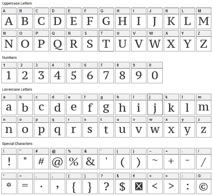 PT Serif Caption Font Character Map