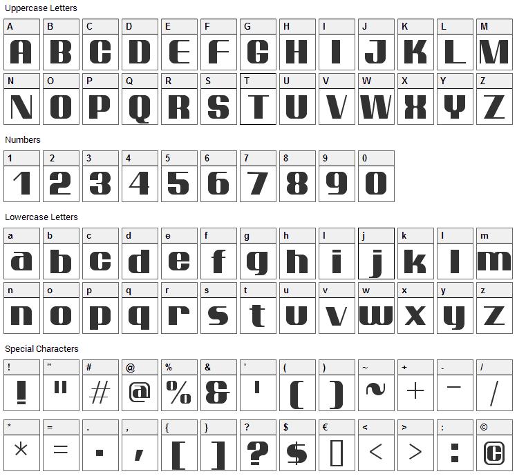 Ptarmigan Font Character Map