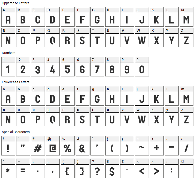 PTF Nordic Std Font Character Map