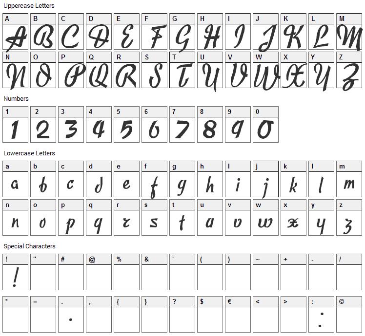 Publicite Font Character Map