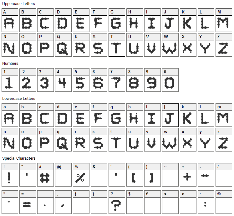 Puffy Font Character Map