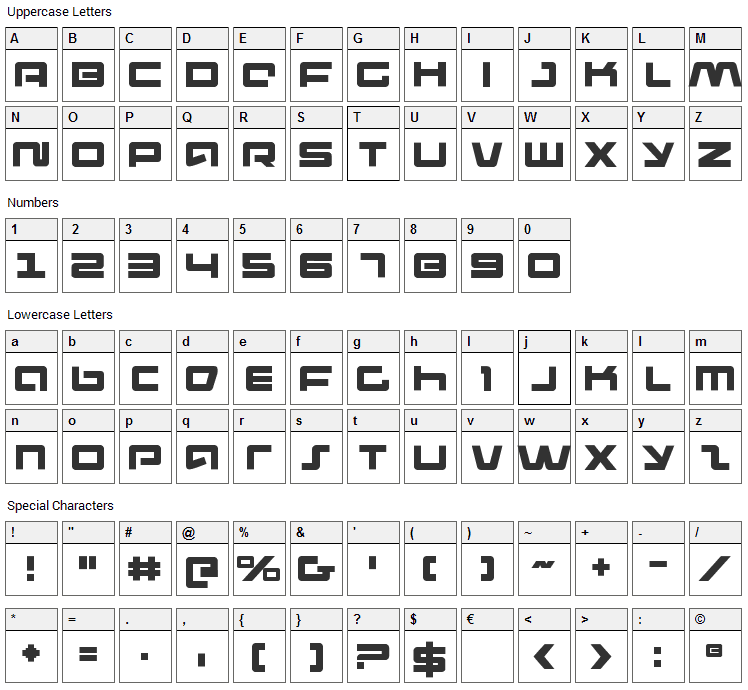 Pulse Rifle Font Character Map