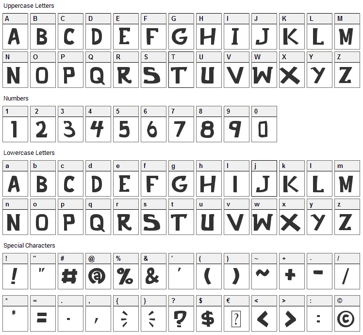 Punch It Font Character Map