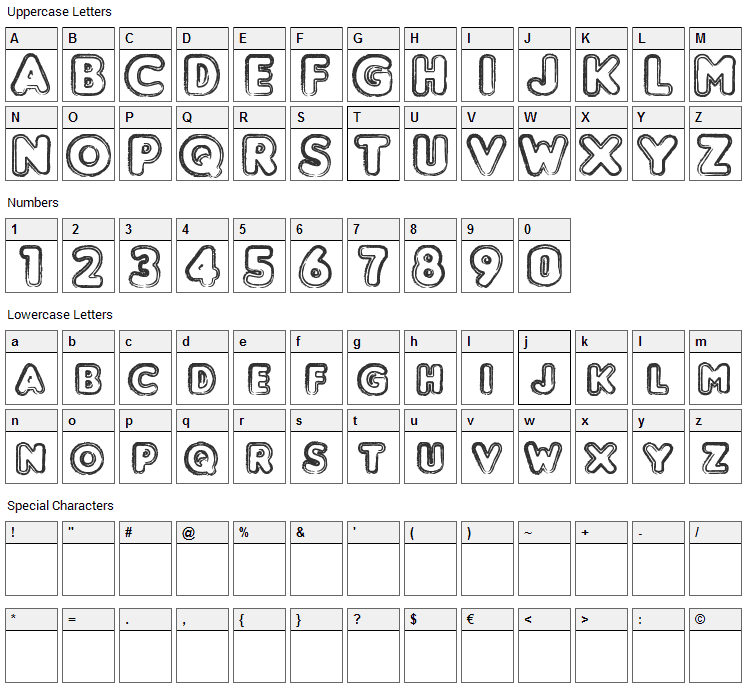 Punched Font Character Map
