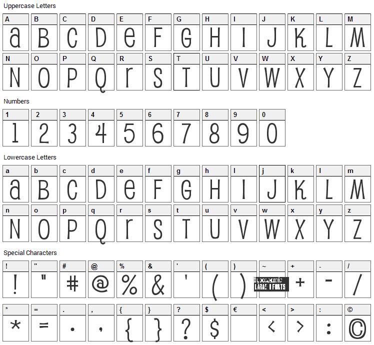 Pupcat Font Character Map