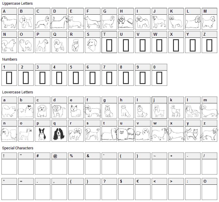 Puppins Font Character Map