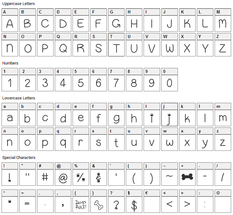 Puppy Bellies Font Character Map