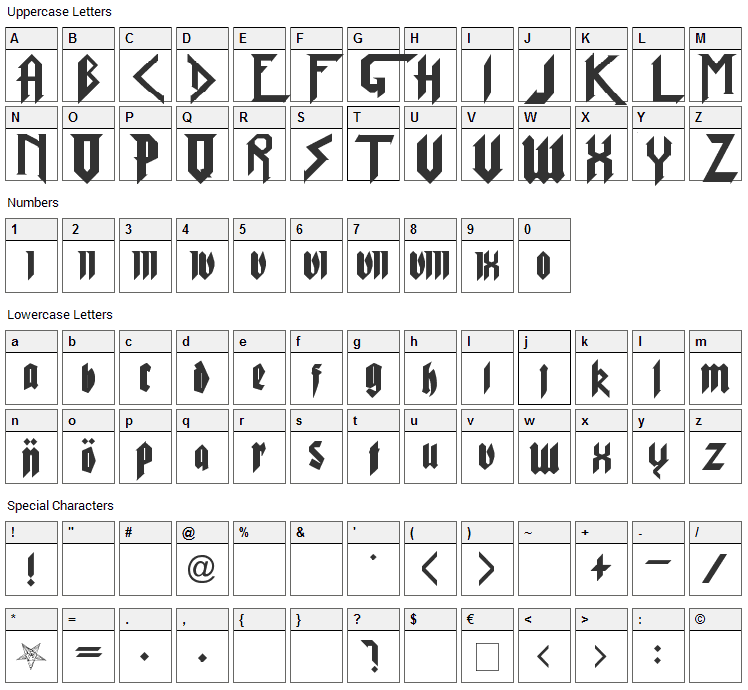 Pure Evil 2 Font Character Map