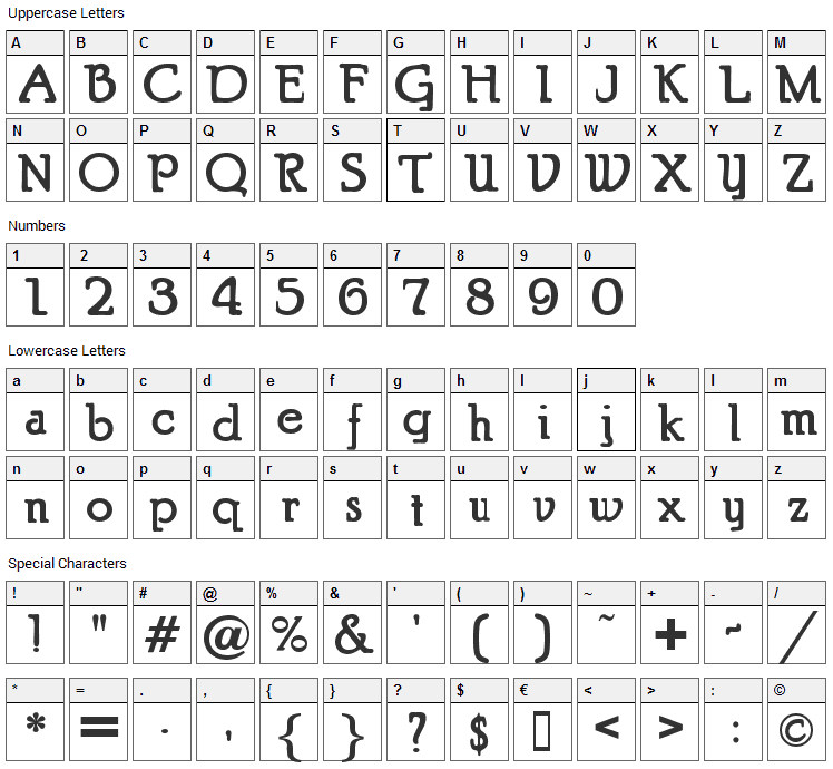 Puritan Font Character Map