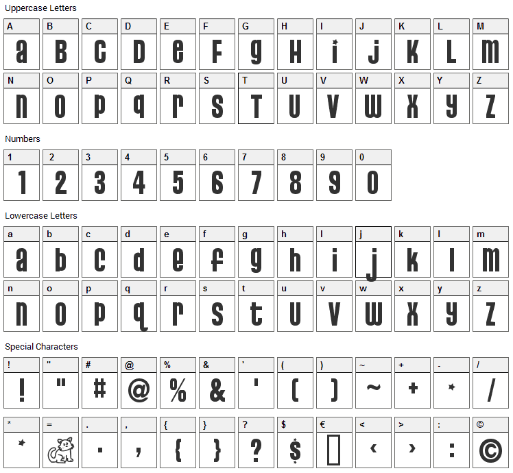 Pussycat Snickers Font Character Map