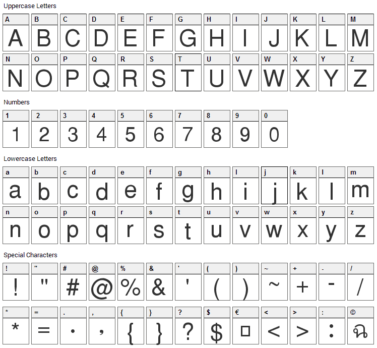 PW Thai Monospaced EG Font Character Map