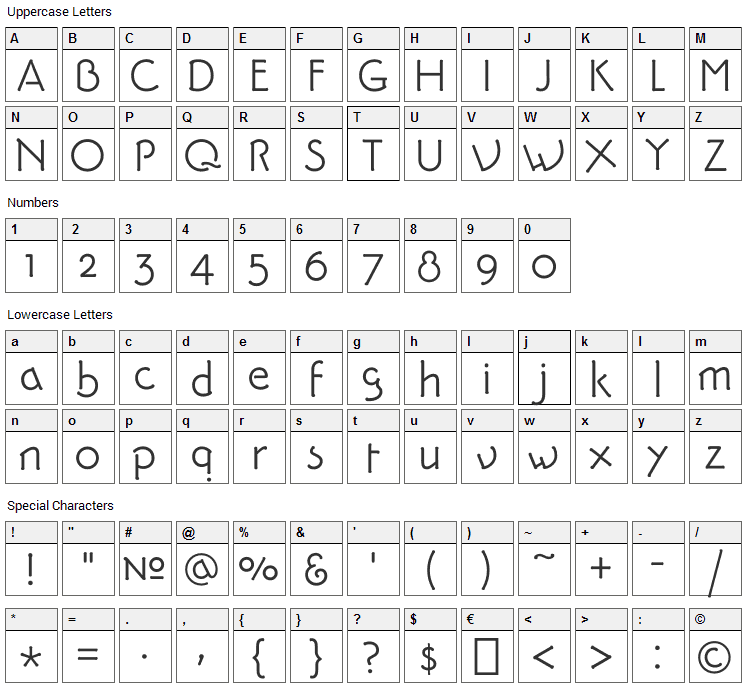 Pykes Peak Zero Font Character Map
