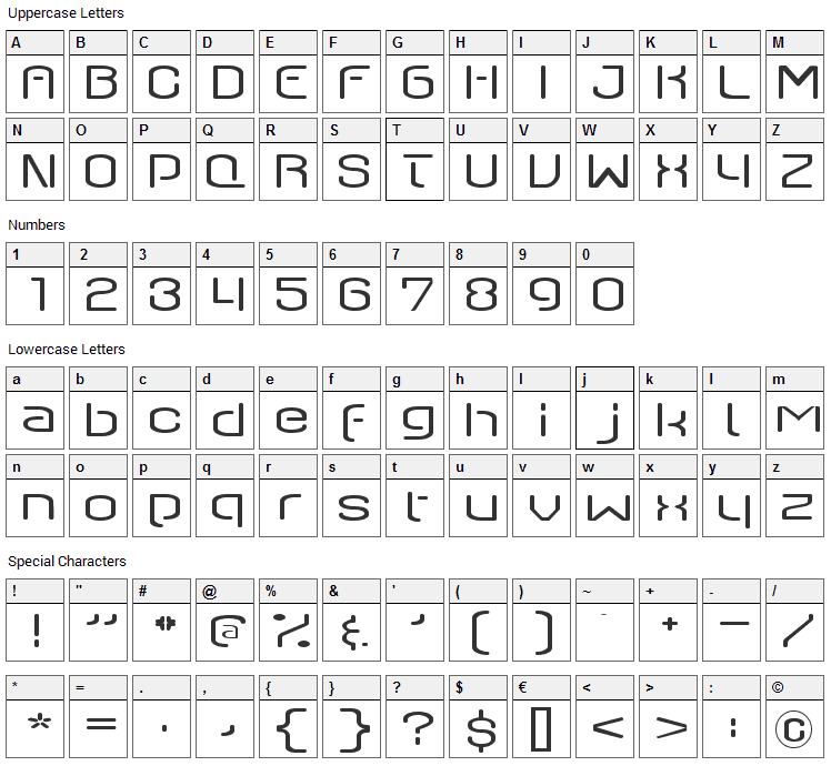 Q-Switch Ax Font Character Map