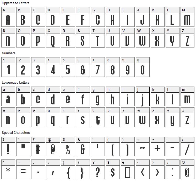 Qhytsdakx Font Character Map