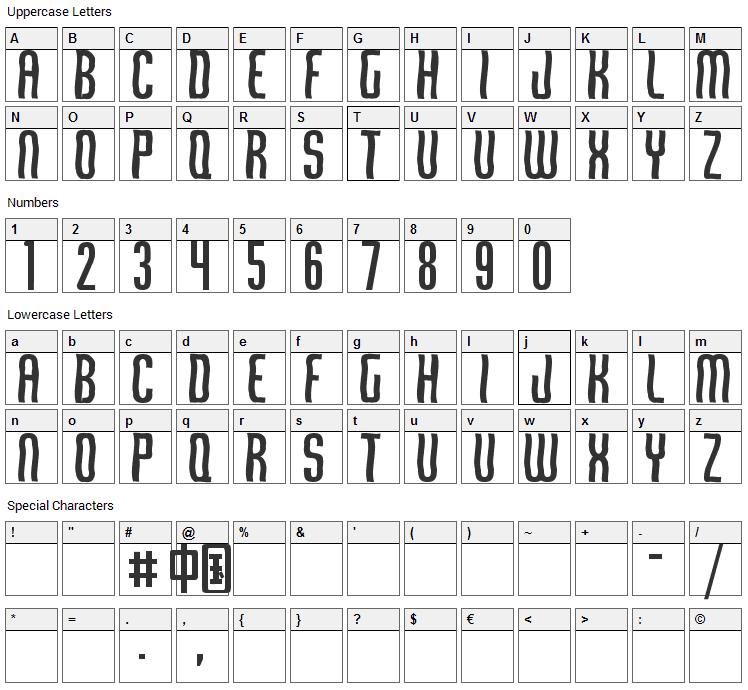 Qirof Font Character Map