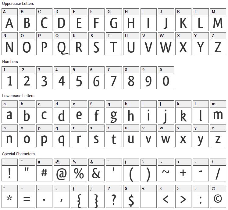Qlassik Font Character Map