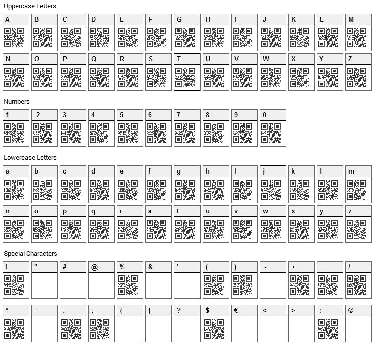 QR font Font Character Map