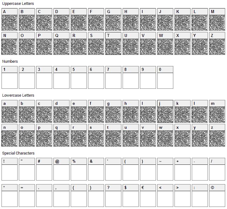 QRcodeX Font Character Map