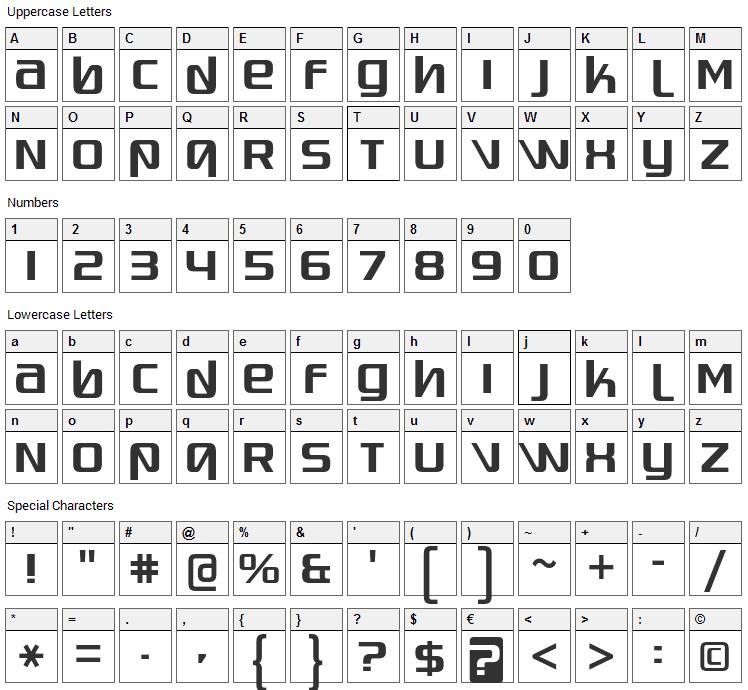 Quadaptor Font Character Map