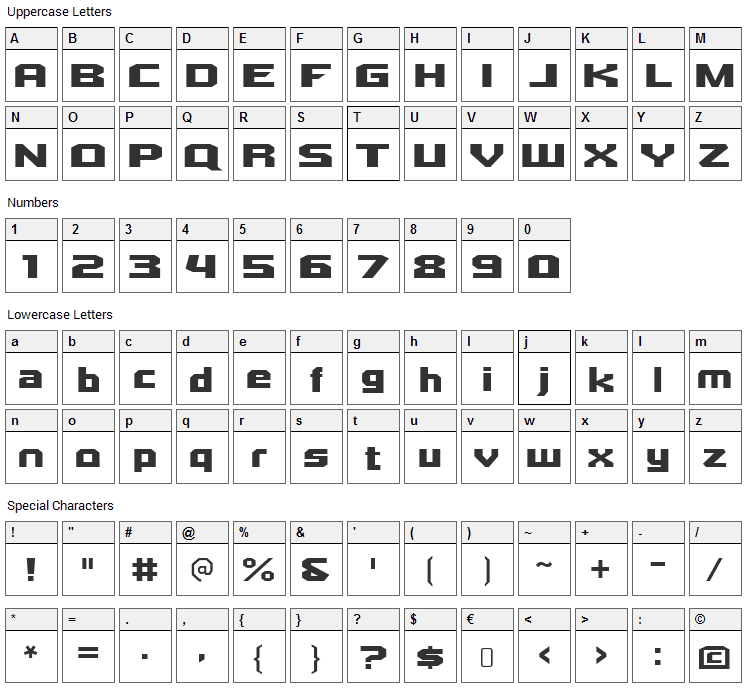 Quadrangle Font Character Map