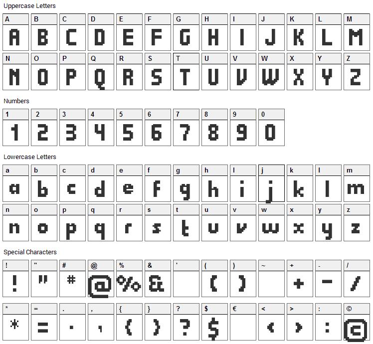 Quadrit Font Character Map
