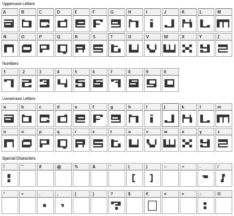 Quadrron Font Character Map