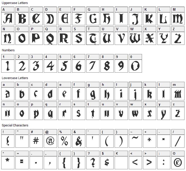 Quael Gothic Font Character Map