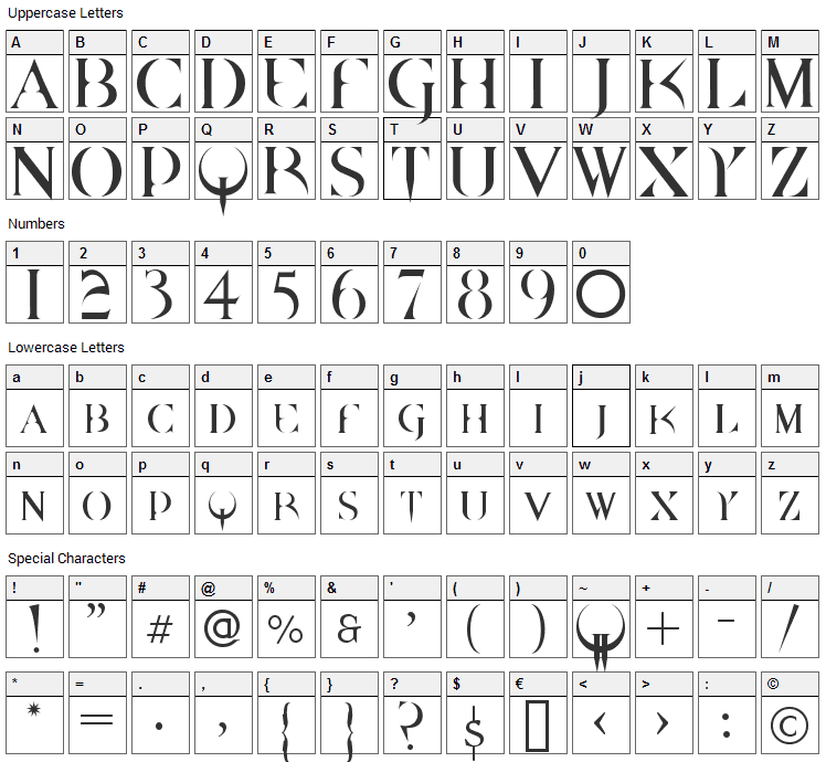 Quake Font Character Map