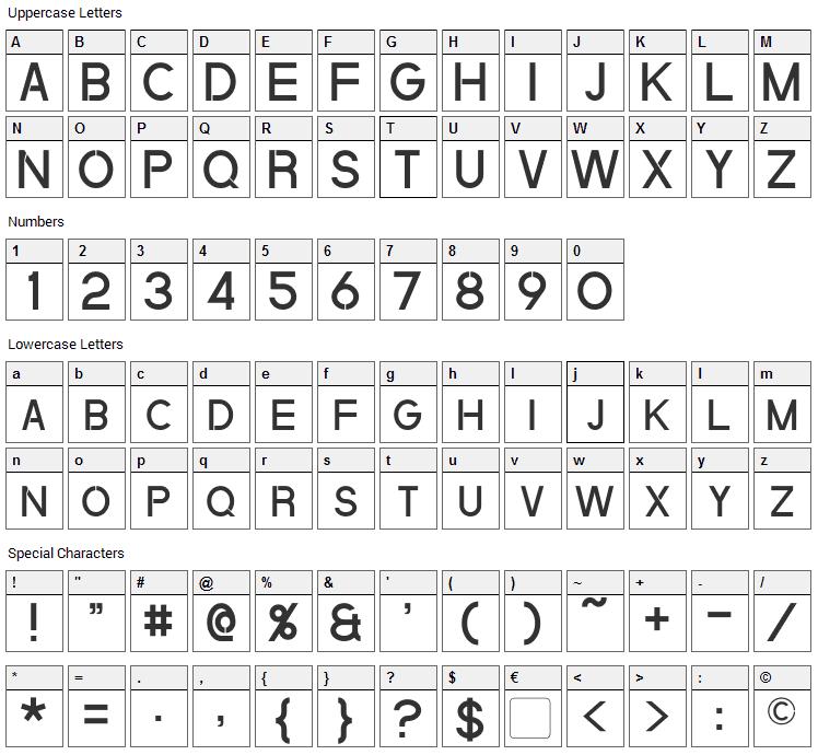 Quantum Font Character Map