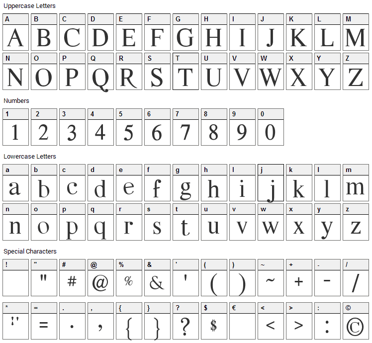 Quarella Font Character Map