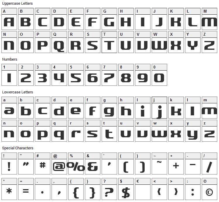 Quartzite Font Character Map