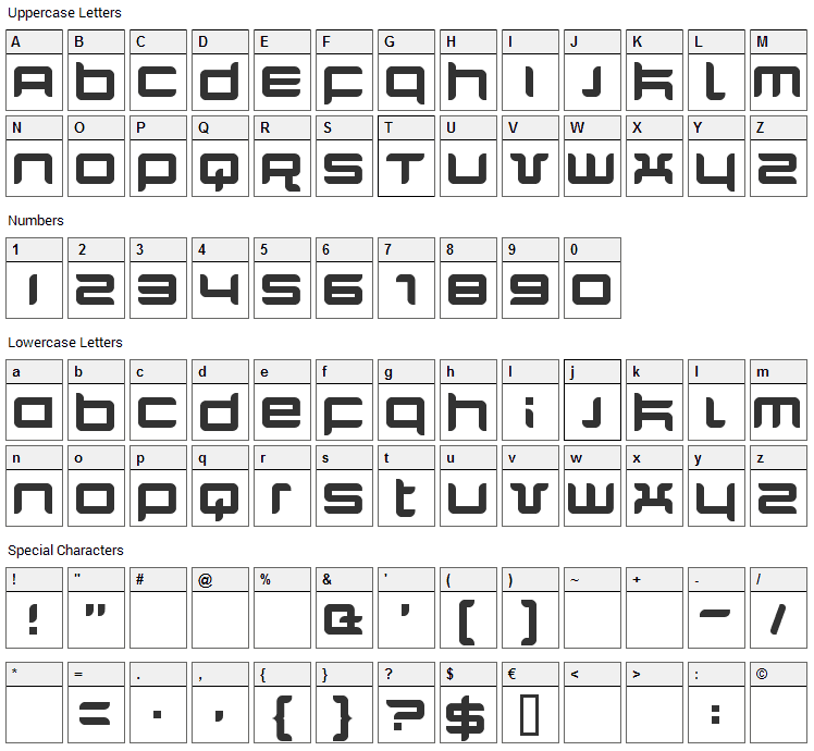 Quarx Font Character Map