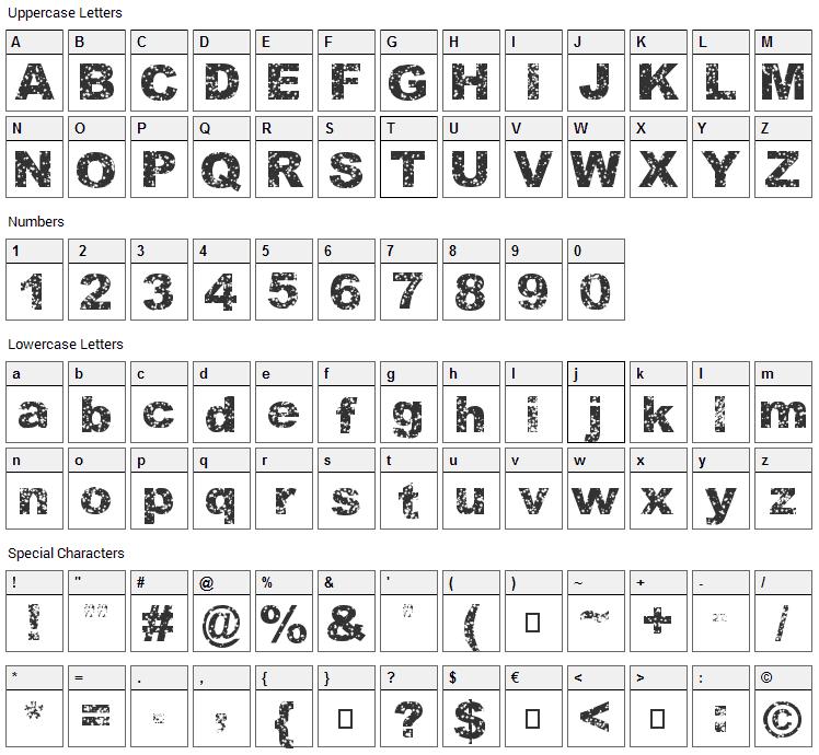 Quasart Font Character Map